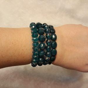 Set of 4 Beaded Elastic Teal Bracelets